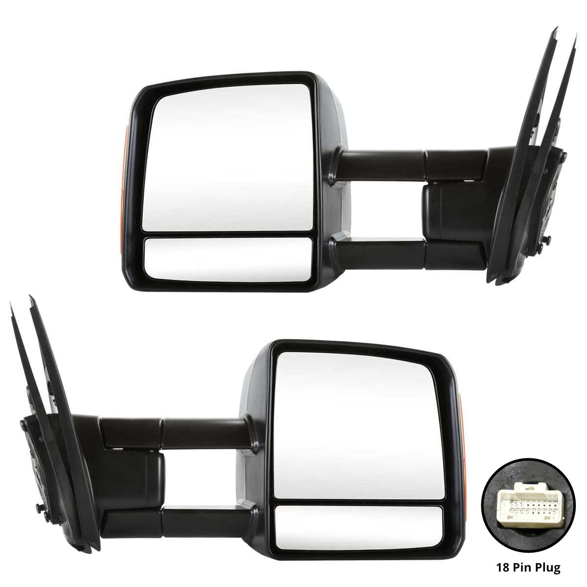 Vehicle Towing Mirrors : Power towing heated signal mirrors pair set for