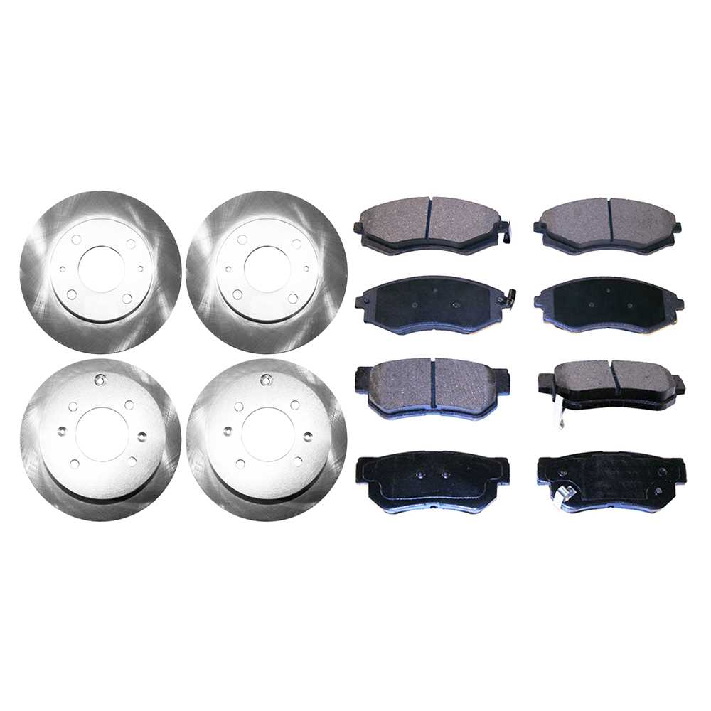 4 Front Amp Rear Brake Rotors And 8 Metallic Pads For A
